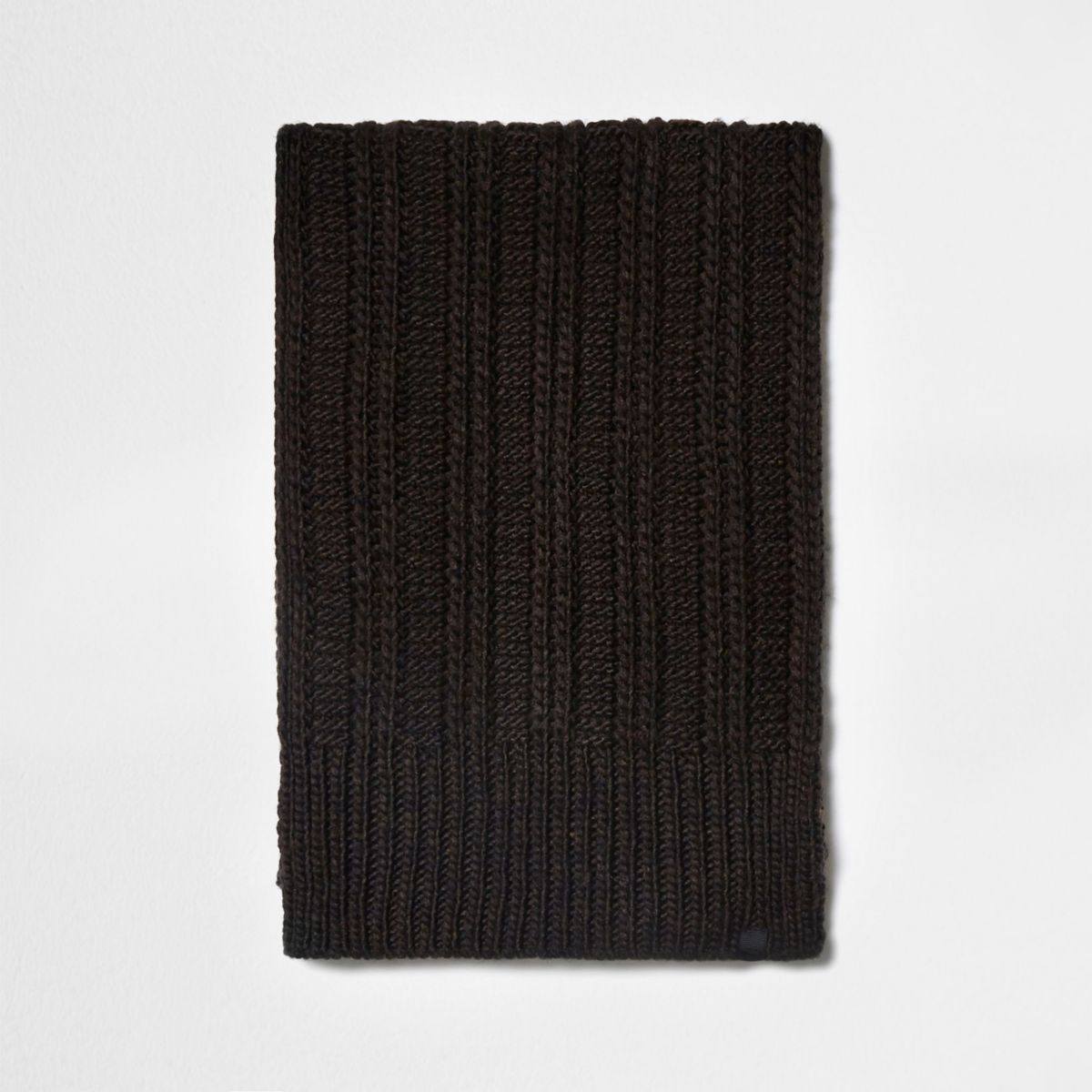 Dark brown ribbed knit scarf