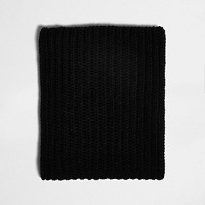 Black chunky rib knit fabric