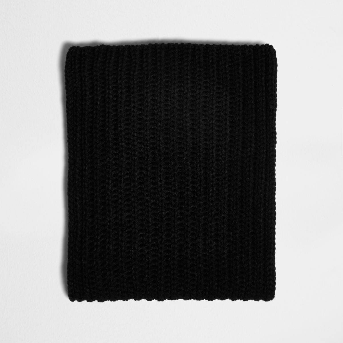 Black chunky rib knit fabric