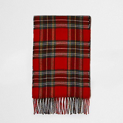 Red tartan check scarf