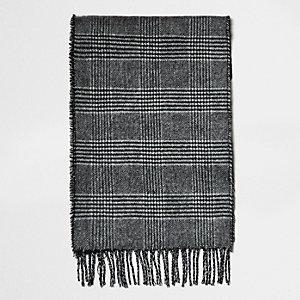 Écharpe réversible grise à carreaux
