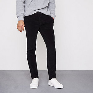 Black cord skinny smart trousers