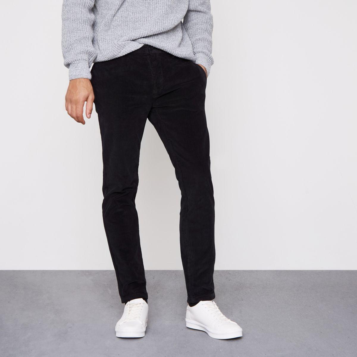 Black cord skinny smart trousers
