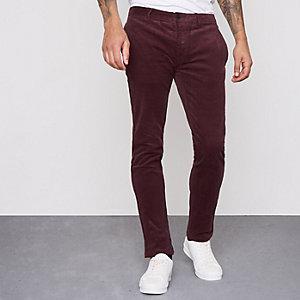Pantalon skinny habillé en velours côtelé rouge foncé