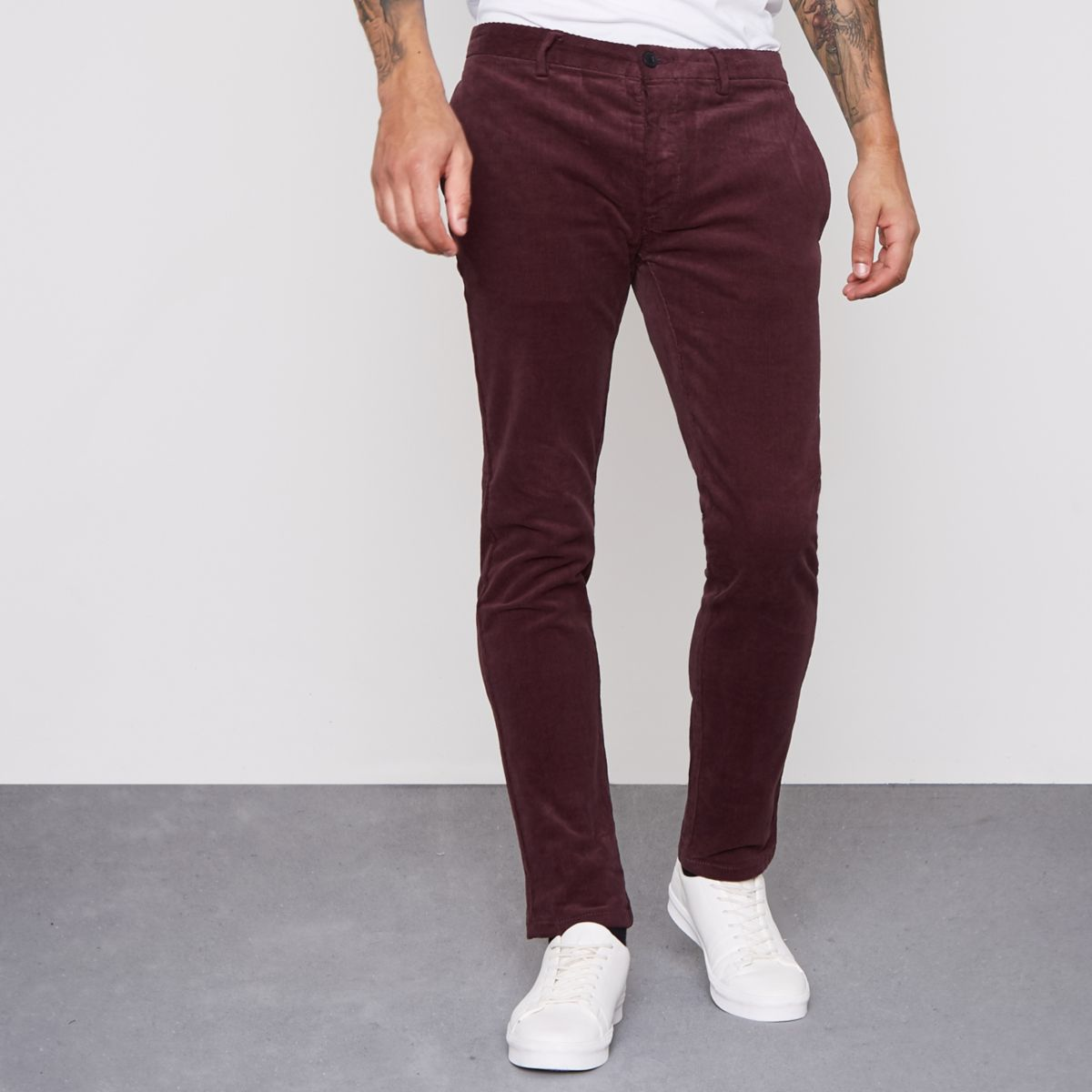 Dark red cord skinny smart trousers