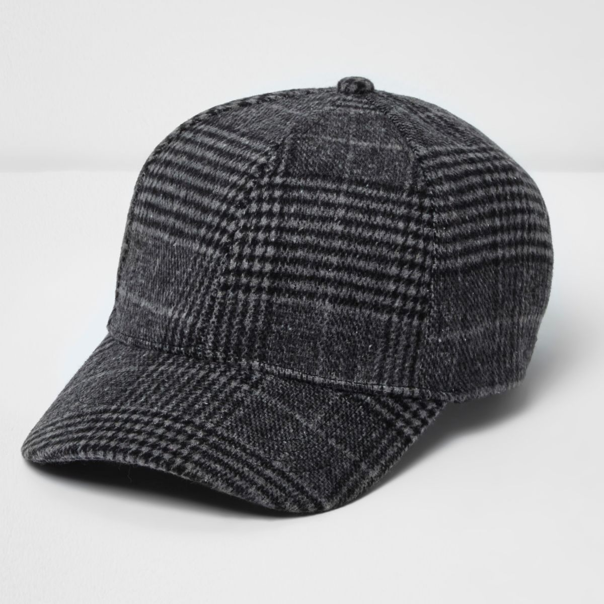 Grey check baseball cap