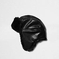 Black faux fur lined trapper hat