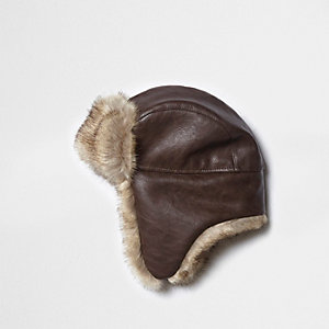 Brown faux fur lined trapper hat