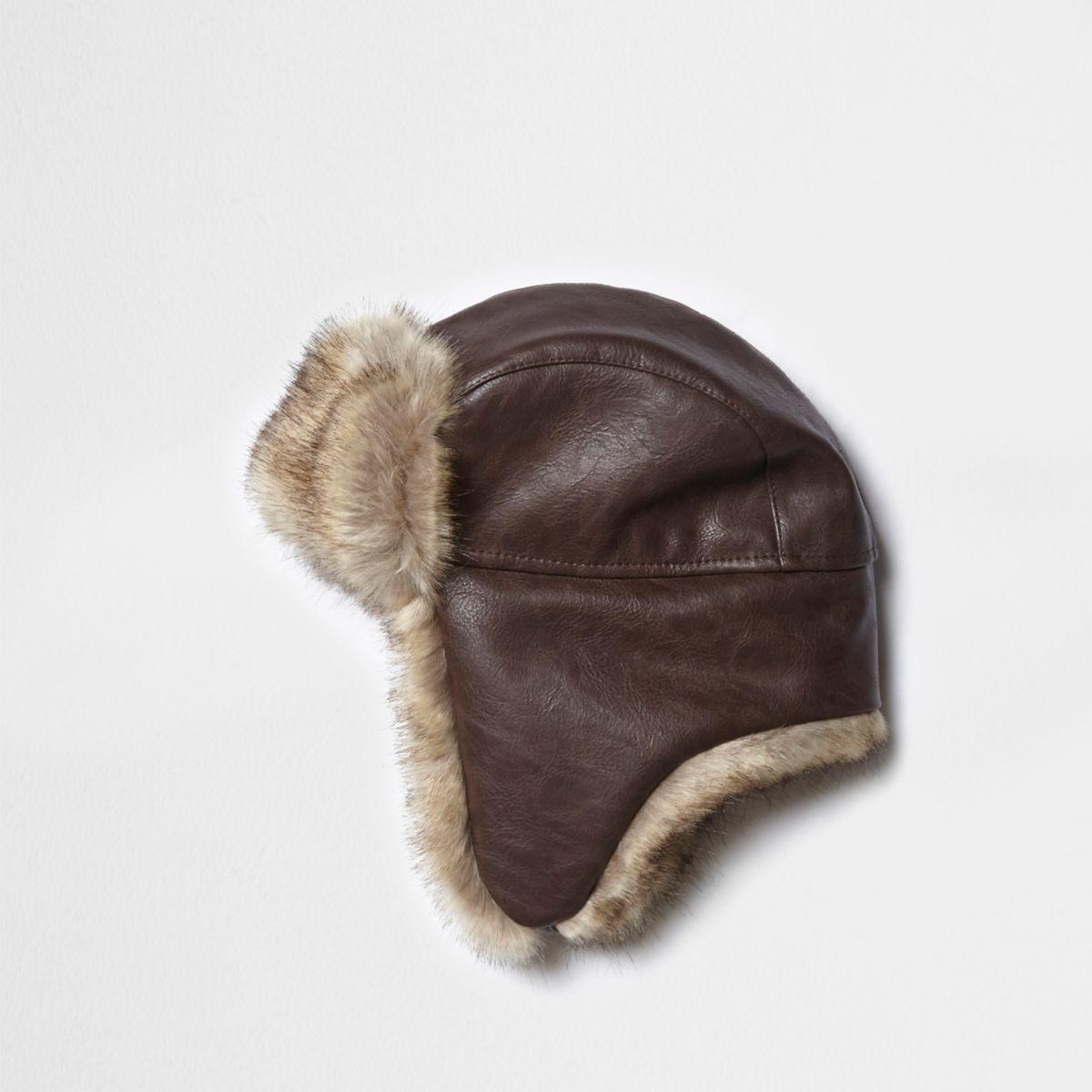Chapka marron avec doublure en fausse fourrure
