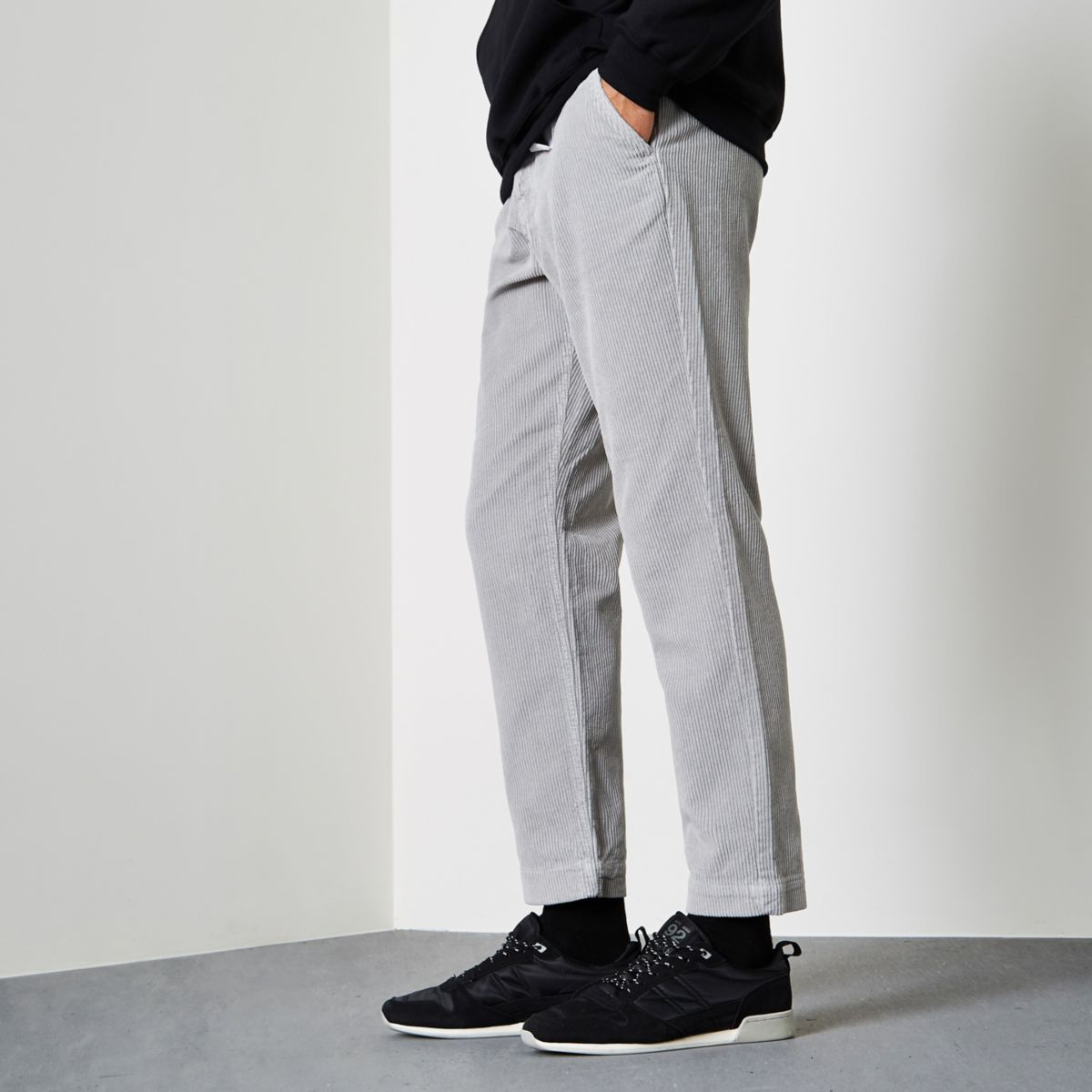 Light grey cord tapered trousers
