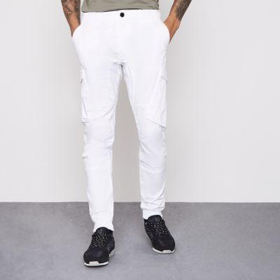 River Island Pantalon cargo blanc