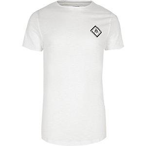 T-shirt ajusté en tissu flammé imprimé blanc