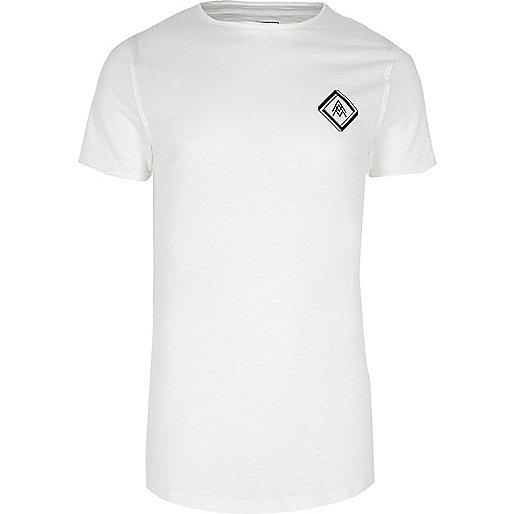 White slub chest print muscle fit T-shirt