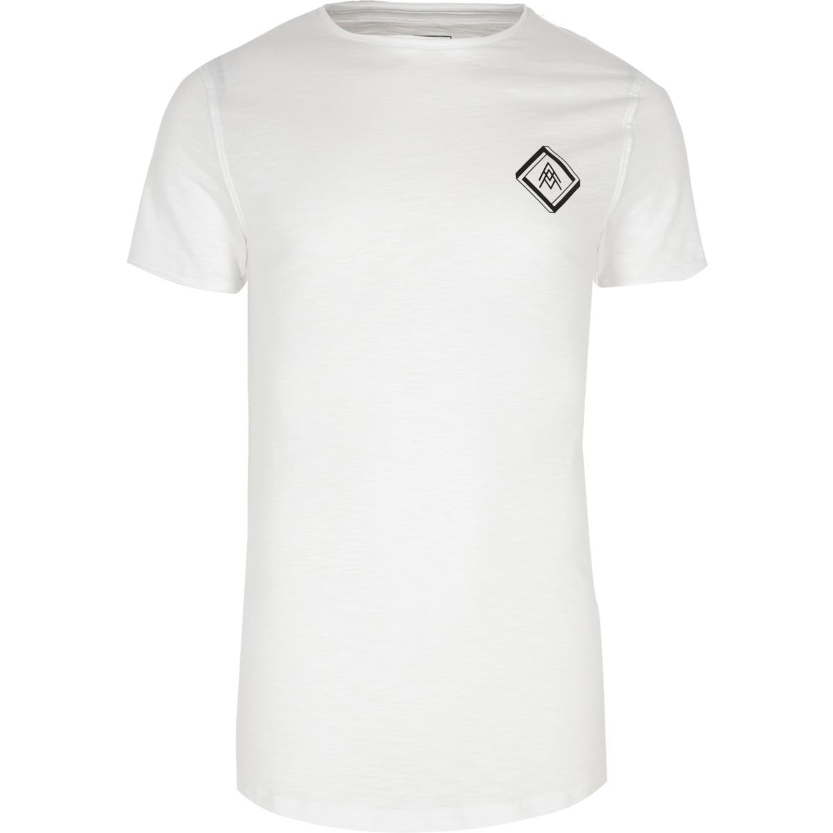 White slub chest print muscle fit T-shirt