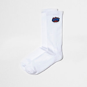 White 'boom' embroidery tube socks