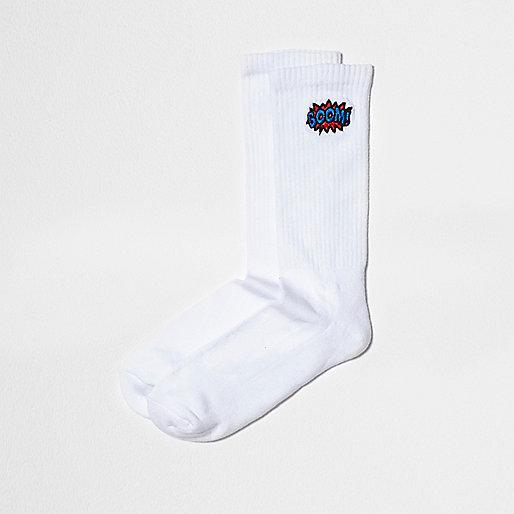 White 'boom' embroidery tube socks