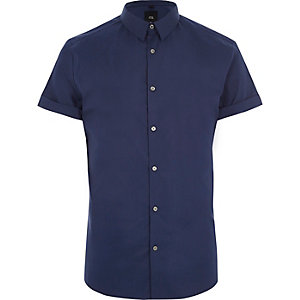 Blue muscle fit short sleeve shirt