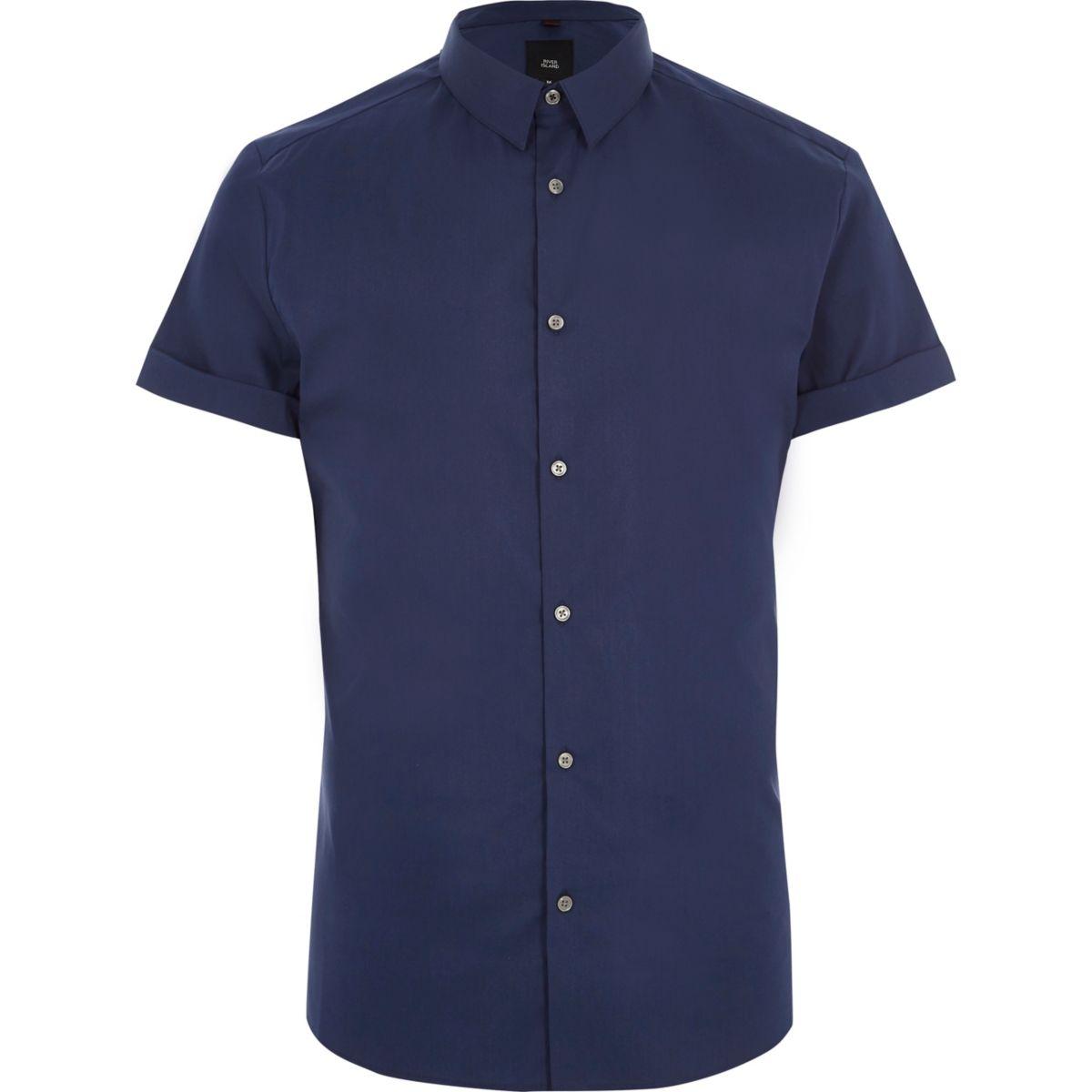 Blue muscle fit short sleeve shirt