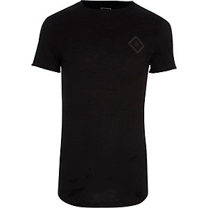 Black slub chest print muscle fit T-shirt