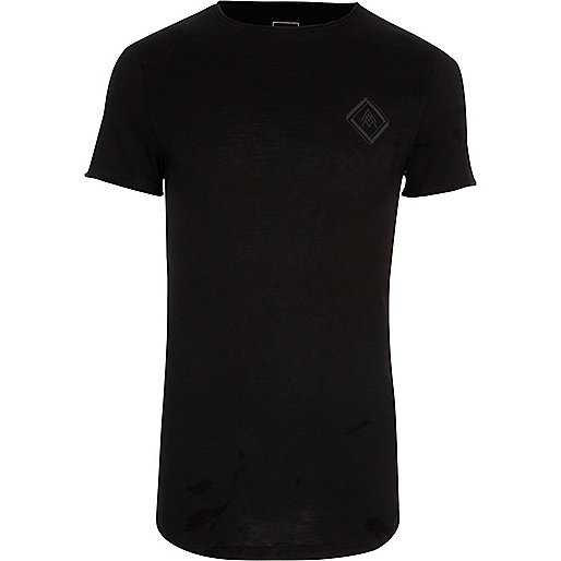 Black slub chest print muscle fit T-shirt