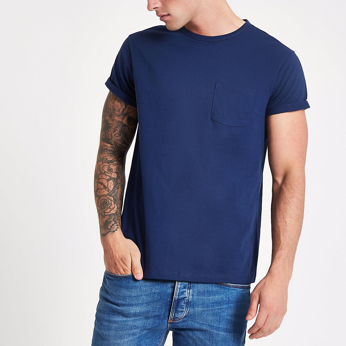Retroussées Poche Bleu Shirt Avec À Shirts T Manches F1fISq