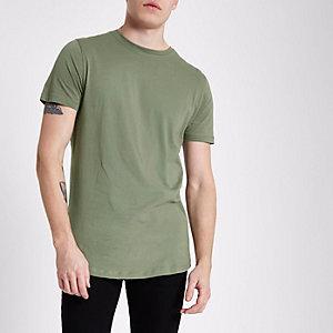 Dunkelgrünes T-Shirt mit abgerundetem Saum