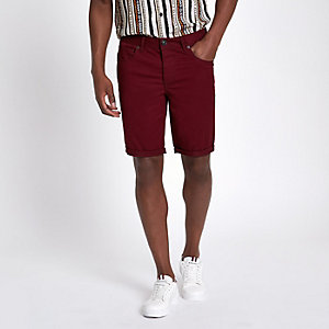 Bordeauxrode skinny-fit short