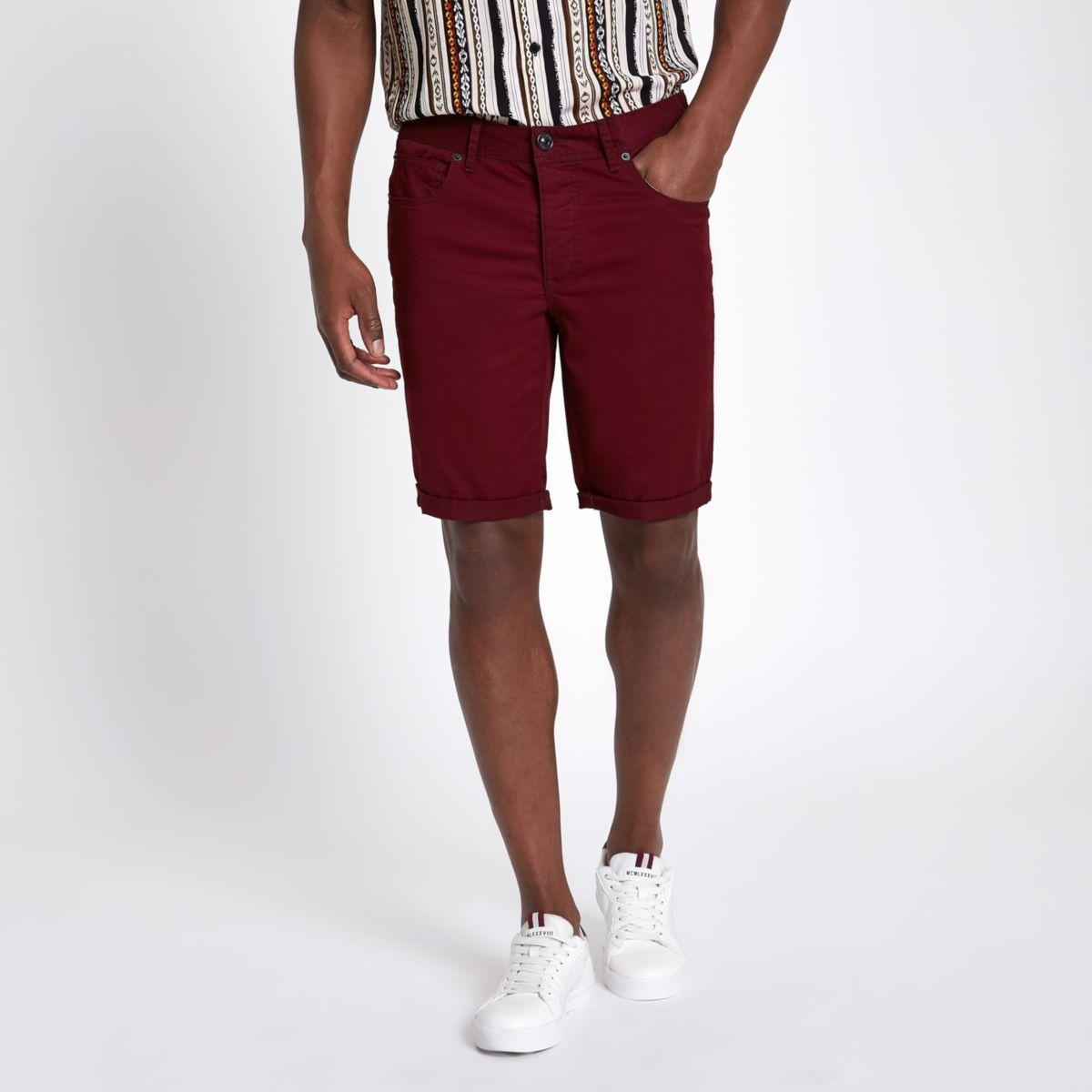 Bugundy skinny fit shorts
