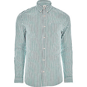 Green stripe muscle fit long sleeve shirt