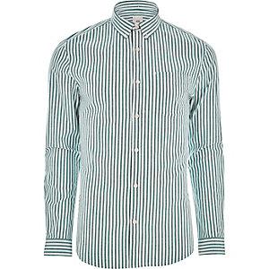 Green stripe long sleeve shirt