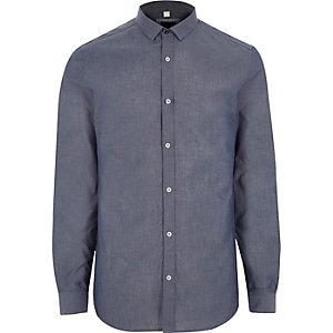 Blaues, langärmliges Slim Fit Hemd