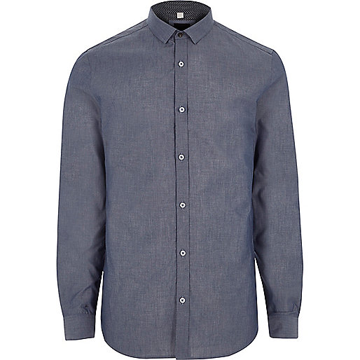 Blue long sleeve chambray slim fit shirt