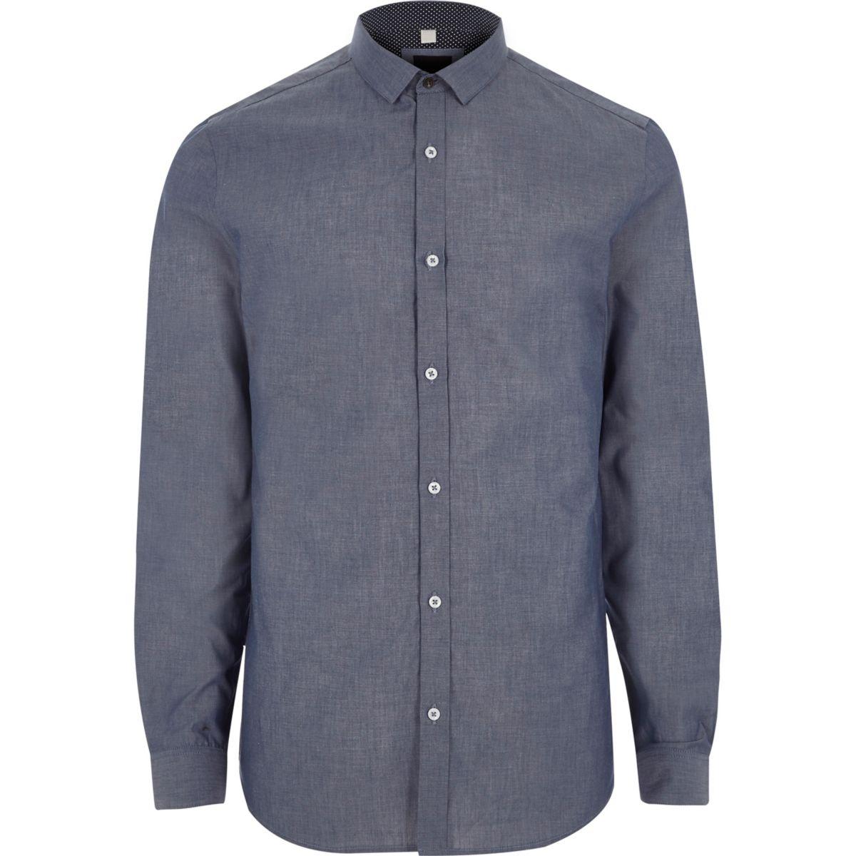 Chemise slim en chambray bleue à manches longues