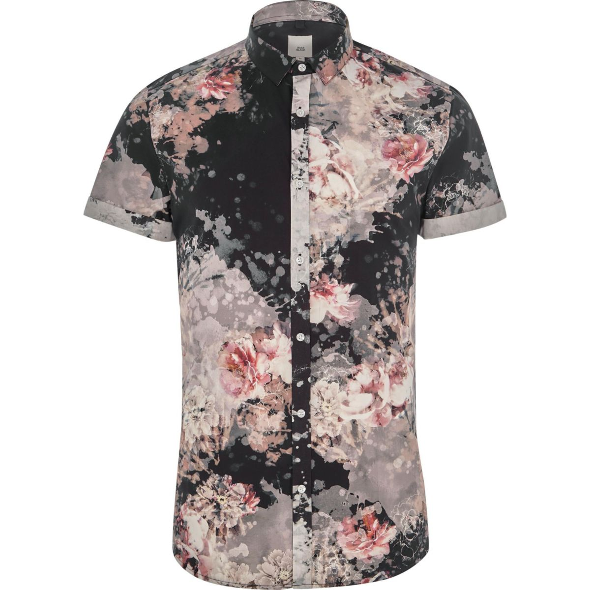Black floral slim fit short sleeve shirt
