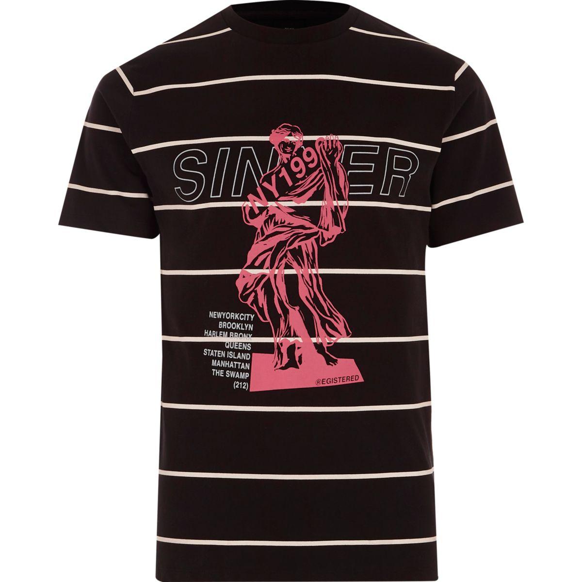 T-shirt slim imprimé Sinner et rayures noir