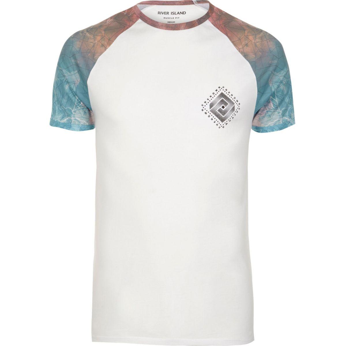 RI Big and Tall - Wit T-shirt met vlekkenprint