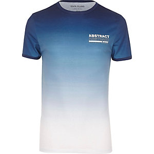 RI Big and Tall - Vervaagd blauw T-shirt met 'abstract'-print