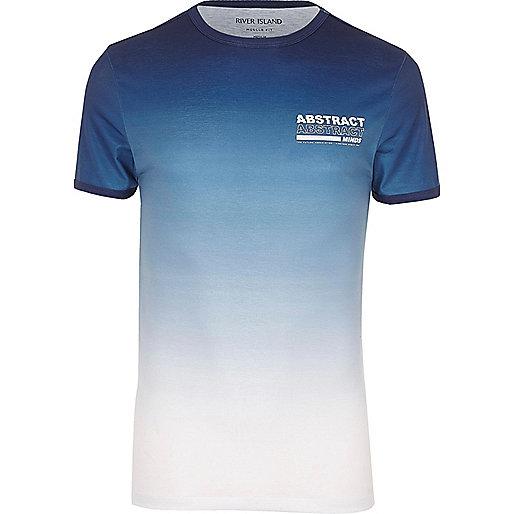 Big and Tall blue fade 'abstract' T-shirt