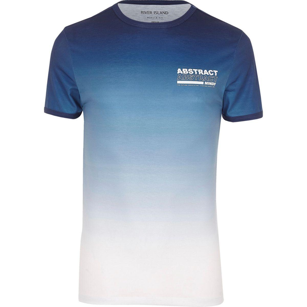Big & Tall – T-shirt imprimé «Abstract» en dégradé bleu