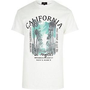 """Weißes T-Shirt """"California"""" mit Rundhalsausschnitt"""