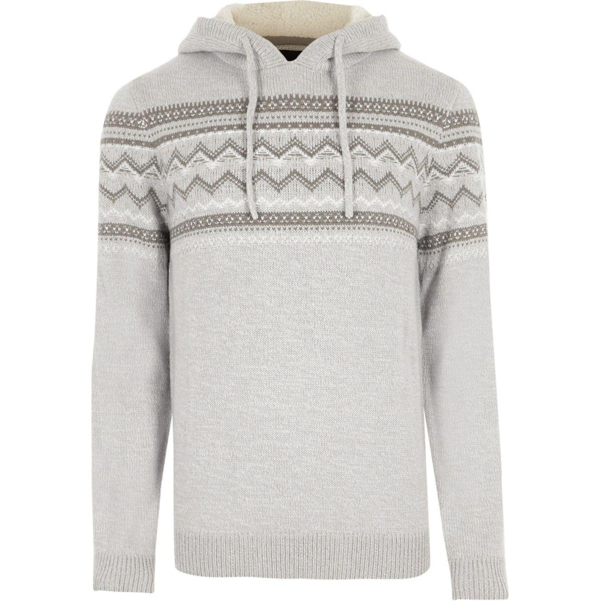 Light grey Fairisle knit sweater