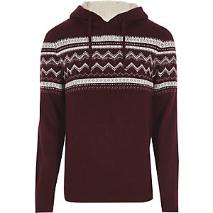 Dark red Fairisle knit hooded jumper
