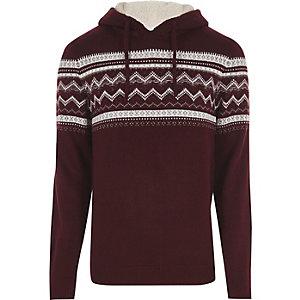 Dark red Fairisle knit hooded jumper