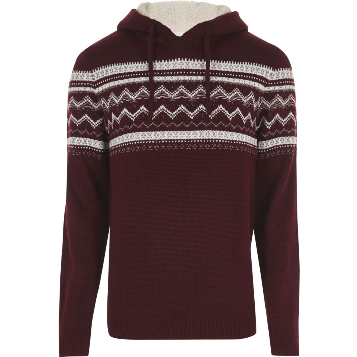 Dark red Fairisle knit hooded sweater