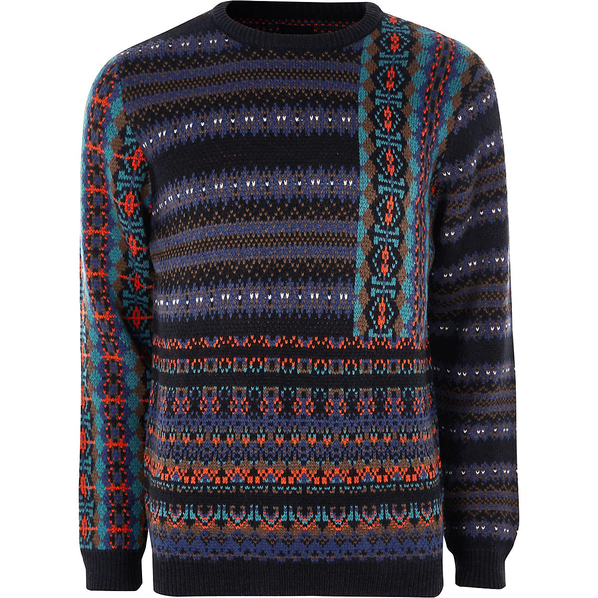 Navy mixed Fairisle knit Christmas sweater