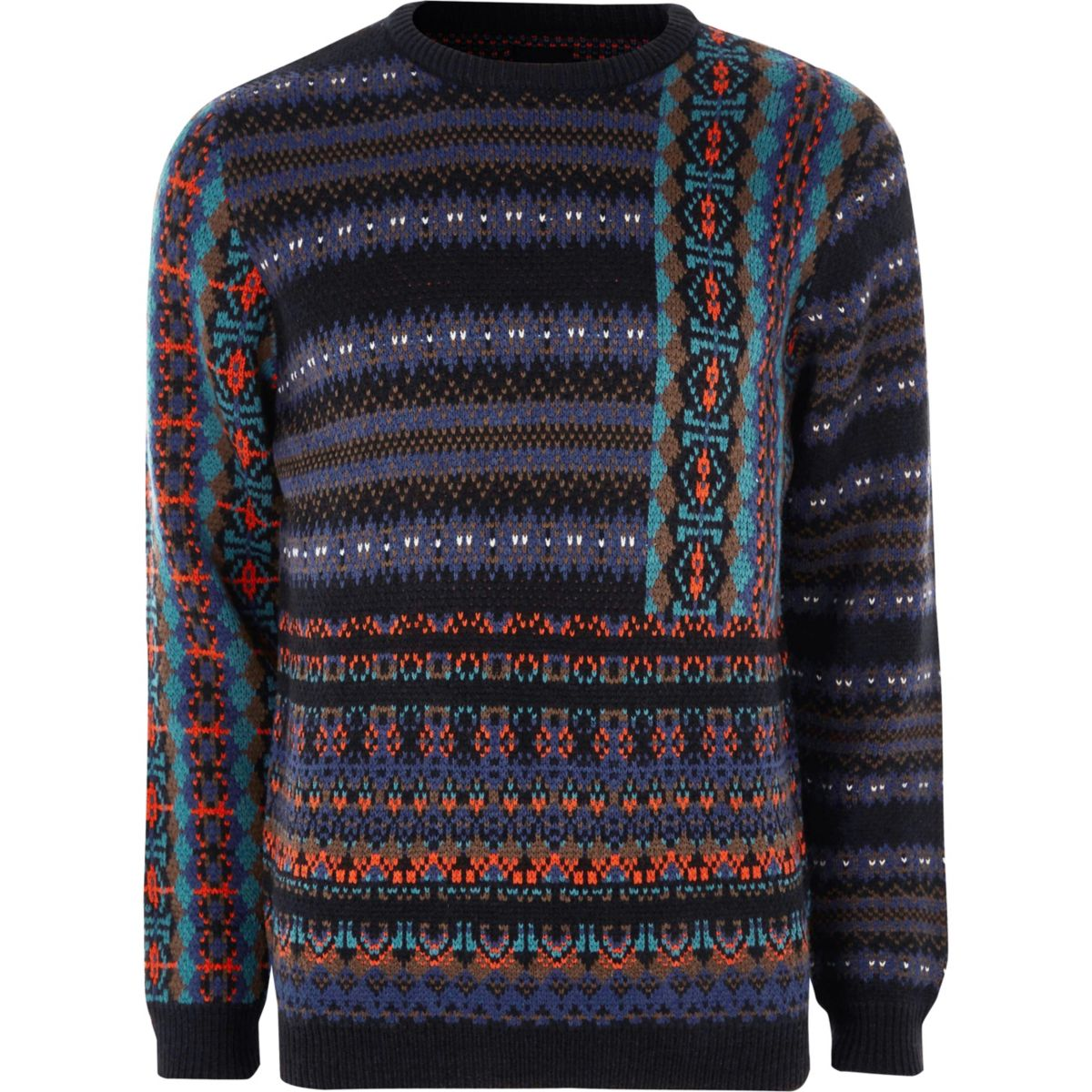 Navy mixed Fairisle knit Christmas jumper