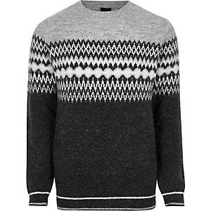 Grey Fairisle block knit jumper