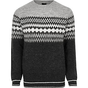 Grey Fairisle block knit Christmas sweater