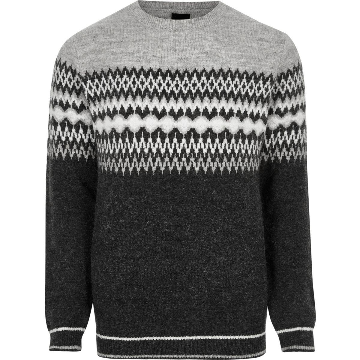 Grey Fairisle block knit Christmas sweater