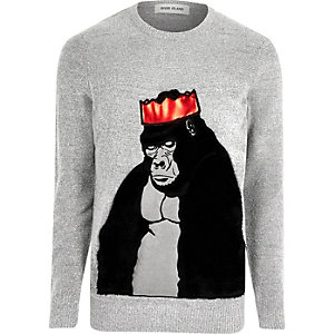 Pull de Noël motif gorille gris en fausse fourrure